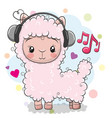 alpaca with headphones on a white background vector image vector image