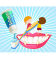 Boy and girl brushing teeth vector image