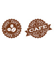 cafe stamp seals with grunge texture in coffee vector image vector image