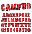campus alphabet font template vector image vector image