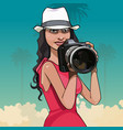 cartoon woman in hat photographing big camera vector image vector image