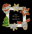 christmas and new year greeting card with toys vector image