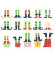christmas elves feet cute santa claus helpers vector image