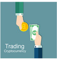 concept of trading cryptocurrency of bitcoin vector image vector image