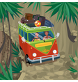 Couple of hippies traveling in van on a mountain vector image vector image