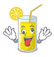 crazy fresh lemon juice in glas cartoon vector image vector image