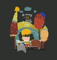 cute cartoon girl reading book in autumn park vector image vector image