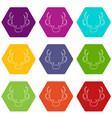 deer antler icons set 9 vector image vector image