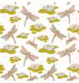 Dragonfly lotus seamless big vector image vector image