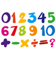 font design for numbers and sign in colors vector image vector image