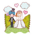 girl and boy couple marriage with bushes and vector image vector image
