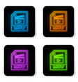 glowing neon mov file document icon download mov vector image vector image