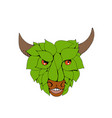 green bull head drawing vector image vector image