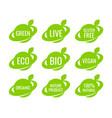 green organic vegan food logo labels and tags vector image vector image