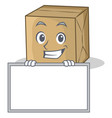 grinning with board cardboard character character vector image