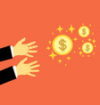 hands reach for money vector image