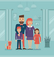 happy family and cat staying at home vector image