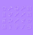 kitchenware simple paper cut icons set vector image vector image