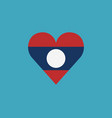 laos flag icon in a heart shape in flat design vector image vector image