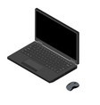 laptop and computer mouse isometric view isolated vector image