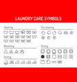 laundry care symbols linear icons set isolated on vector image vector image
