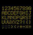 led digital alphabet vector image vector image