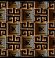 meander greek key 3d seamless pattern black and vector image vector image
