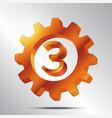 number 3 bronze gear vector image vector image