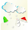 Paper cut out winter concept vector image vector image