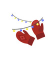 red winter gloves icon flat style vector image vector image