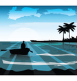 Sea island shore Palm leaves on foreground vector image vector image