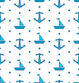 Seamless Pattern with Sail Boats and Anchors vector image vector image