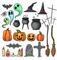set contour for holiday halloween witch vector image vector image