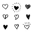 set hand drawn heart doodle hearts isolated on vector image vector image