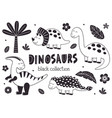 set isolated black cute dinosaurs and tropical vector image vector image