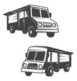 Set of food trucks isolated on white background
