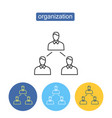 social organization outline icons set vector image