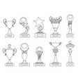 sports trophies and awards silhouettes set vector image