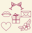 st valentine day collection of line signs vector image