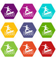 surfer icon set color hexahedron vector image