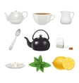 Tea set icons collection vector image vector image