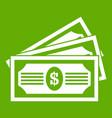three dollar bills icon green vector image vector image