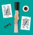 two businessman shake hands vector image