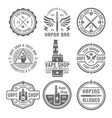 vape shop set of nine vintage black emblems vector image vector image