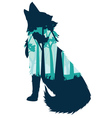 Wolf Howling with Forest vector image vector image