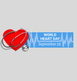 world heart day concept banner cartoon style vector image vector image