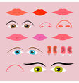 Eyes Mouths Noses and Ears Set vector image