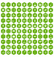 100 seminar icons hexagon green vector image vector image