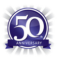 50th anniversary badge purple vector image