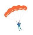active guy enjoying parachuting extreme sport vector image vector image